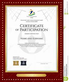 Free Certificates Of Participation Sport Theme Certificate Of Participation Template Stock