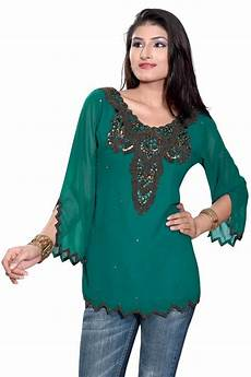 green sleeves kurti tunic with front back beadwork ebay
