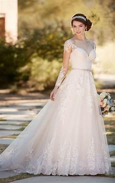 a line wedding dress with organza skirt essense of australia