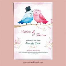 Watercolor Wedding Cards Watercolor Wedding Card Free Vector