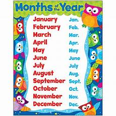 Printable Month Months Of The Year Owl Stars Learning Chart T 38448