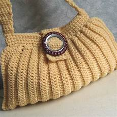 crochet pattern pleated shoulder bag easy to make instant