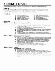 Resume Skills For Retail Customer Service Representative Resume Examples Created