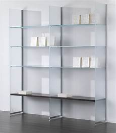 scaffale vetro glazed glass wall composition with sides and shelves