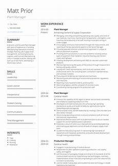 Plant Manager Resume Plant Manager Resume Samples And Templates Visualcv