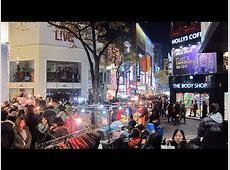 Myeongdong nightlife and street food in Seoul, South Korea