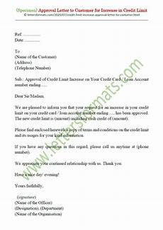 Letter For Increase Credit Limit Sample Approval Letter To Customer For Increase In Credit