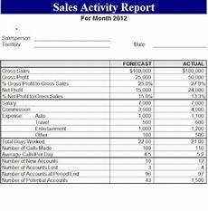 Sales Activity Report Template Excel Sales Activity Report 2012 Template Sample