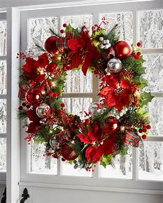 Red And White Large Christmas Lights 28 Quot Classic Pre Lit Christmas Wreath Neiman Marcus