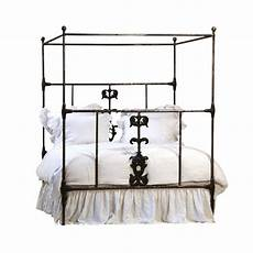 cast iron canopy bed frame with blackened iron finish