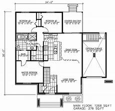 contemporary style house plan 50354 with 1268 sq ft 3 bed