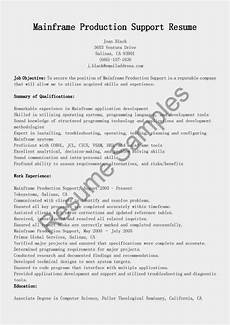 Acquired Skills Resume Mainframe Production Support Resume Sample Resume Best