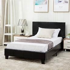 mecor faux leather bonded platform bed frame upholstered