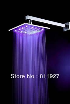Shower Head With Lights Free Shipping High Grade 10 Inch 12 Led Light Brass Square