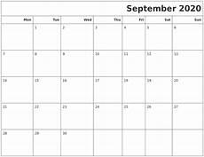 Calendar 2020 September Printable September 2020 Calendars To Print