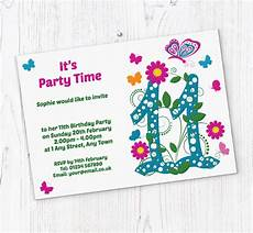 11th Birthday Party Invitation Wording Butterfly 11th Birthday Party Invitations Customise