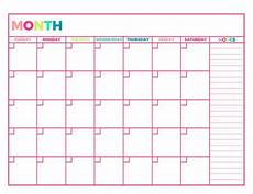 Free Printable Monthly Planner Bright Undated Monthly Planner Printable Month On 1 Etsy