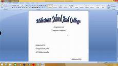 Title Page For Word How To Make A Cover Page For Assignments Youtube