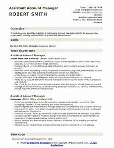 Resume Objective Account Manager Assistant Account Manager Resume Samples Qwikresume