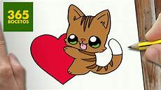 dibujos de gatos como dibujar gato y corazon kawaii paso a paso dibujos