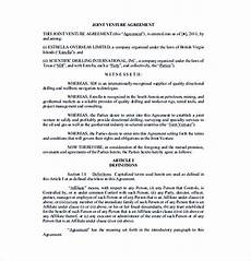 Joint Venture Contract Joint Venture Agreement Template