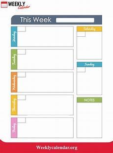Week Calander 2019 Blank Weekly Calendar Printable In Pdf Word Amp Excel
