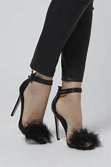 Designer Shoes With Feathers Topshop Reese Feather Sandals In Black Lyst