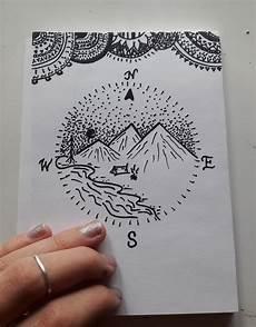 draw kompass malen welt berge muster
