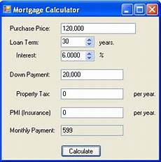 30 Year Mortgage Rates Chart Calculator Mortgage Calculator In C And Net Net Programming