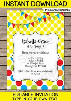 Downloadable Birthday Party Invitations Colorful Bunting Invitations Template Birthday Party