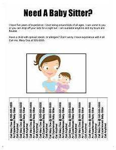 Babysitter Sign Up Free Babysitting Flyers Templates Ideas And Samples