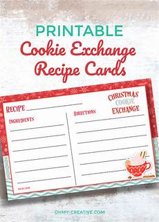 Free Printable Recipe Cards Free Printable Cookie Exchange Recipe Cards Oh My Creative