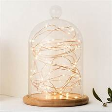 Fairy Lights In Glass Cylinder Glass Bell Jar With Copper Micro Fairy Lights By