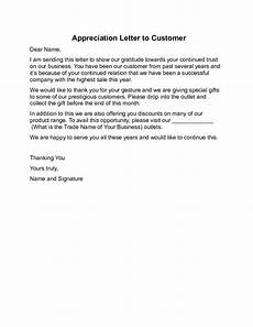 Letter Of Appreciation To Customer Appreciation Letter To Customer Sample Free Download
