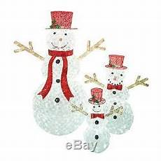 Lighted Snowman Family Set Of 3 Christmas Season Set Of 3 Crystal Beaded Led Lighted