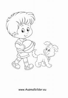 ausmalbild junge spielt mit hund kostenlos ausdrucken