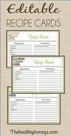 recipe cards with template real food recipe cards diy editable the healthy honeys