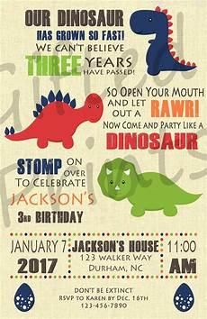 Baby Birthday Party Invitations Birthday Invitation Dinosaur Theme