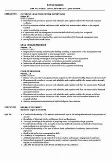 Example Of Cook Resume Cook Supervisor Resume Samples Velvet Jobs