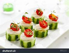 vegetable appetizers with cucumbers soft cheese