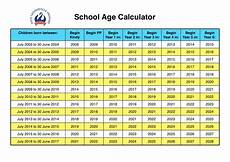 School Years And Ages Chart School Age Calculator Wlps