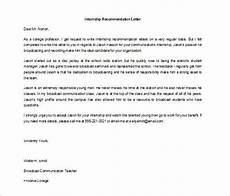 Internship Recommendation Letter Sample 10 Letters Of Recommendation For Internship Pdf Doc