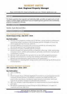 Regional Property Manager Resumes Regional Property Manager Resume Samples Qwikresume