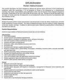 Medical Administration Job Description 10 Medical Assistant Job Description Templates Pdf Doc