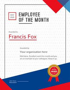 Employee Of The Month Rewards Copy Of Employee Of The Month Portrait Certificate