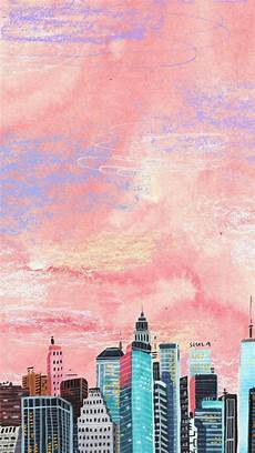 City Painting Iphone Wallpaper by Watercolor Pastel Pink Sunset Phone Wallpaper Wallpapers