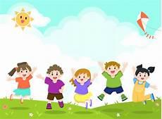 Children Playing Background Happy Children Playing Jumping Background Premium Vector