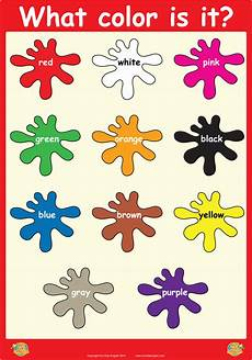 Basic Color Chart For Kids What Color Is It Wall Poster Shape And Match