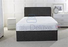 grey chenille fabric divan bed with mattress free