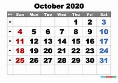 October 2020 Calendar Template Free Printable October 2020 Calendar Word Pdf Image